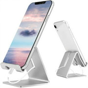 SKONYON Desk Cell Phone Stand Holder Aluminum Phone Dock Cradle Compatible with Switch (Silver)