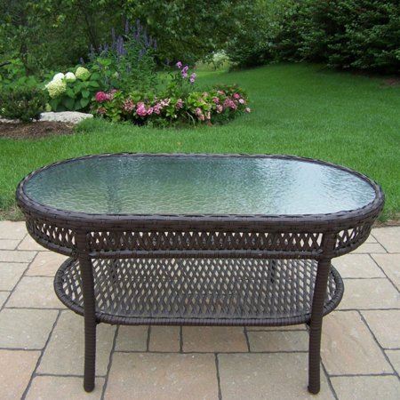 Oakland Living Elite All-Weather Wicker Oval Coffee Table ()
