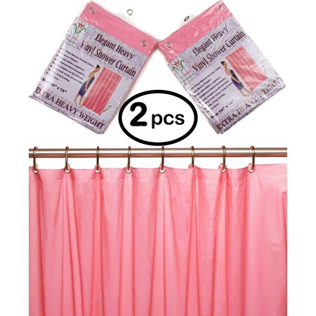 Venice Elegant Home Heavy Duty Vinyl Shower Curtain Liner With 12 Metal Grommets 2 Pack Dusty Rose