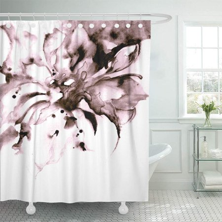 PKNMT Floral Abstract Colorful Watercolor with Graphics on Fantasy Black Flower Painting Shower Curtain Bath Curtain 66x72