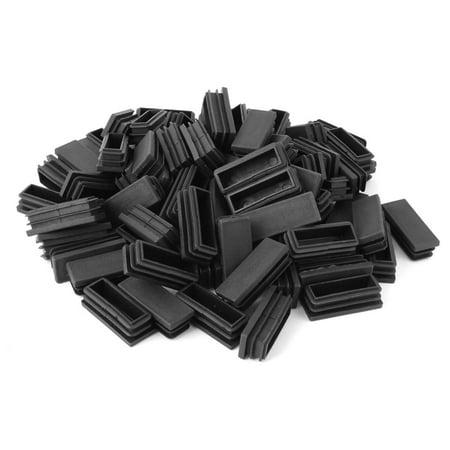 Plastic Rectangle Furniture Table Leg Tube Inserts Black 50 x 20mm 80pcs - image 2 de 2