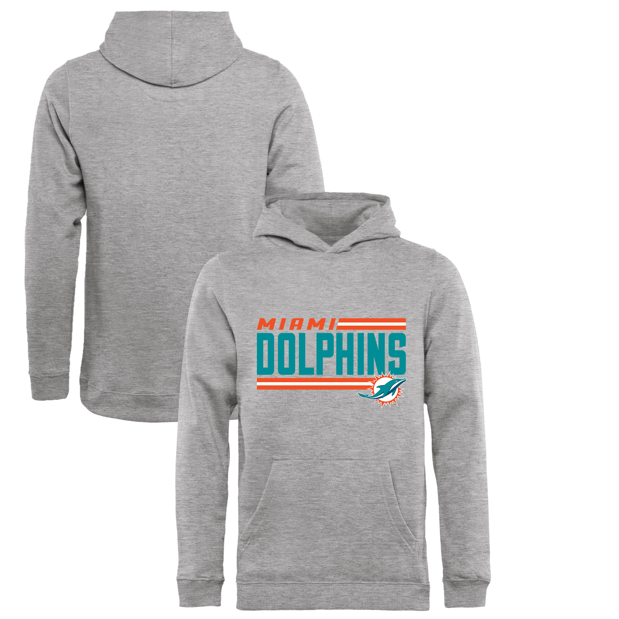 Miami Dolphins NFL Pro Line by Fanatics Branded Youth Iconic Collection On Side Stripe Pullover Hoodie - Ash