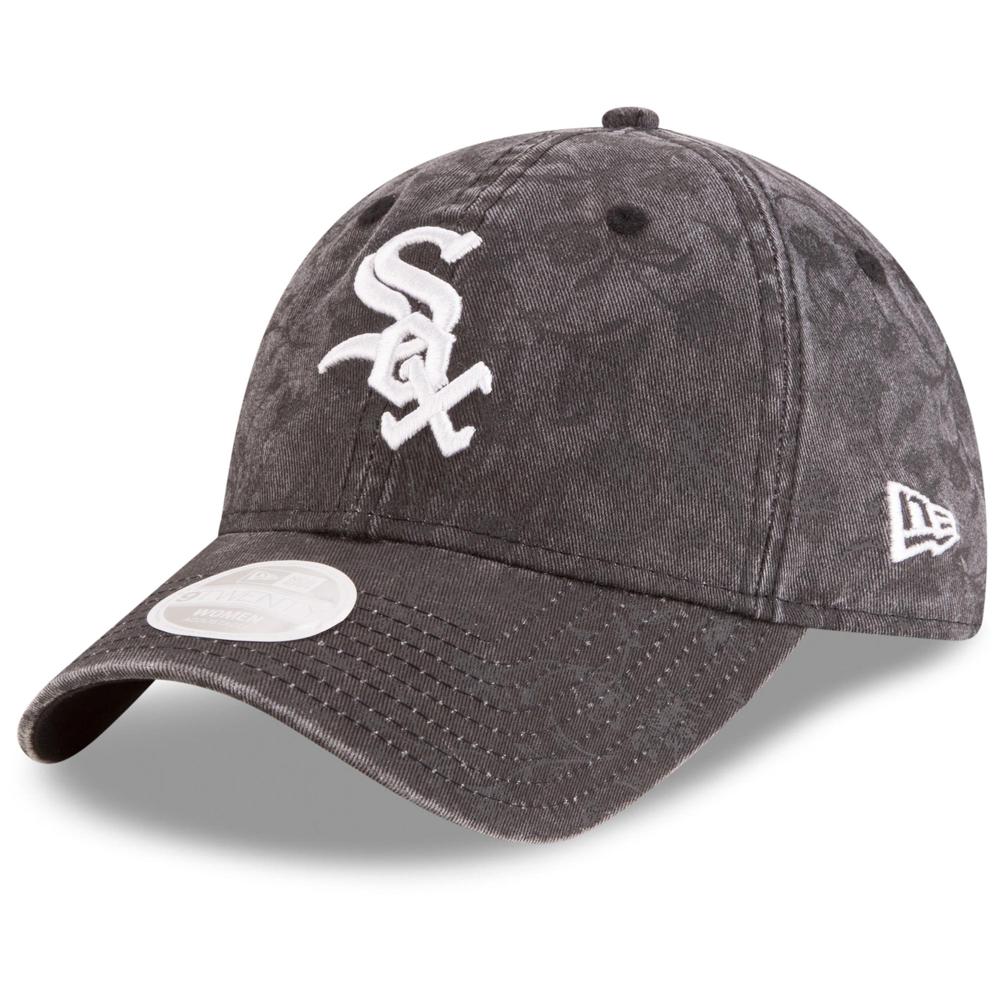 Chicago White Sox New Era Girls Youth Floral Peek 9TWENTY Adjustable Hat - Black - OSFA