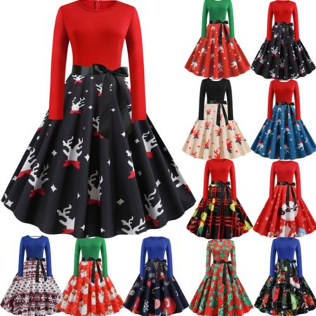Fancy Dress Online Next Day Delivery (Pudcoco Womens Long Sleeve Christmas Dress Vintage Xmas Swing Retro Party Fancy)