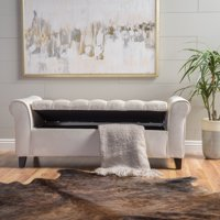 Noble House Clayton Contemporary Rolled Arm Velvet Storage Ottoman Bench, Ivory and Dark Brown