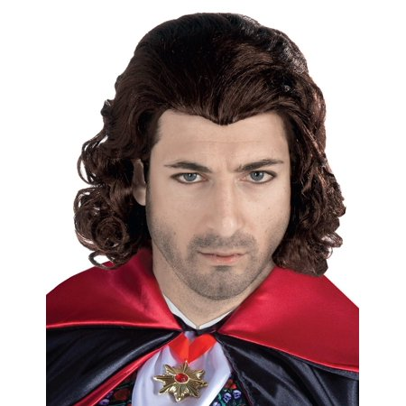The Count Gothic Vampire Brown Long Curly Adult Mens Costume Accessory Hair Wig - Gothic Vampire Costume