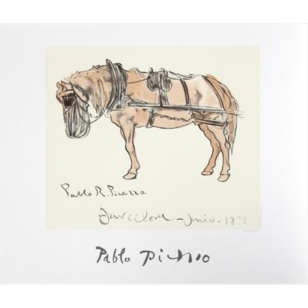 Pablo Picasso 46268 Cheval Attele, Lithograph on Paper 29 In. x 22 In. - Brown, Black, Beige