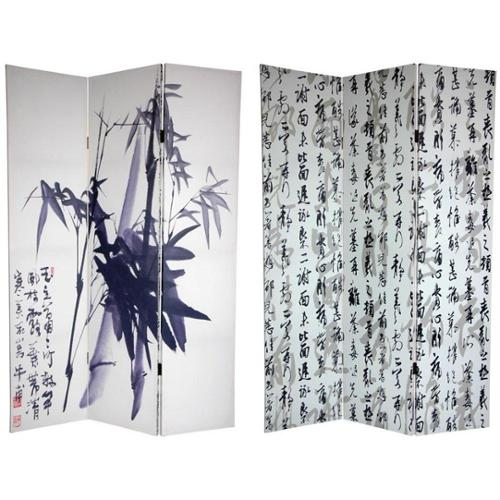 Canvas Double-sided 6-foot Bamboo Calligraphy Room Divider (China)