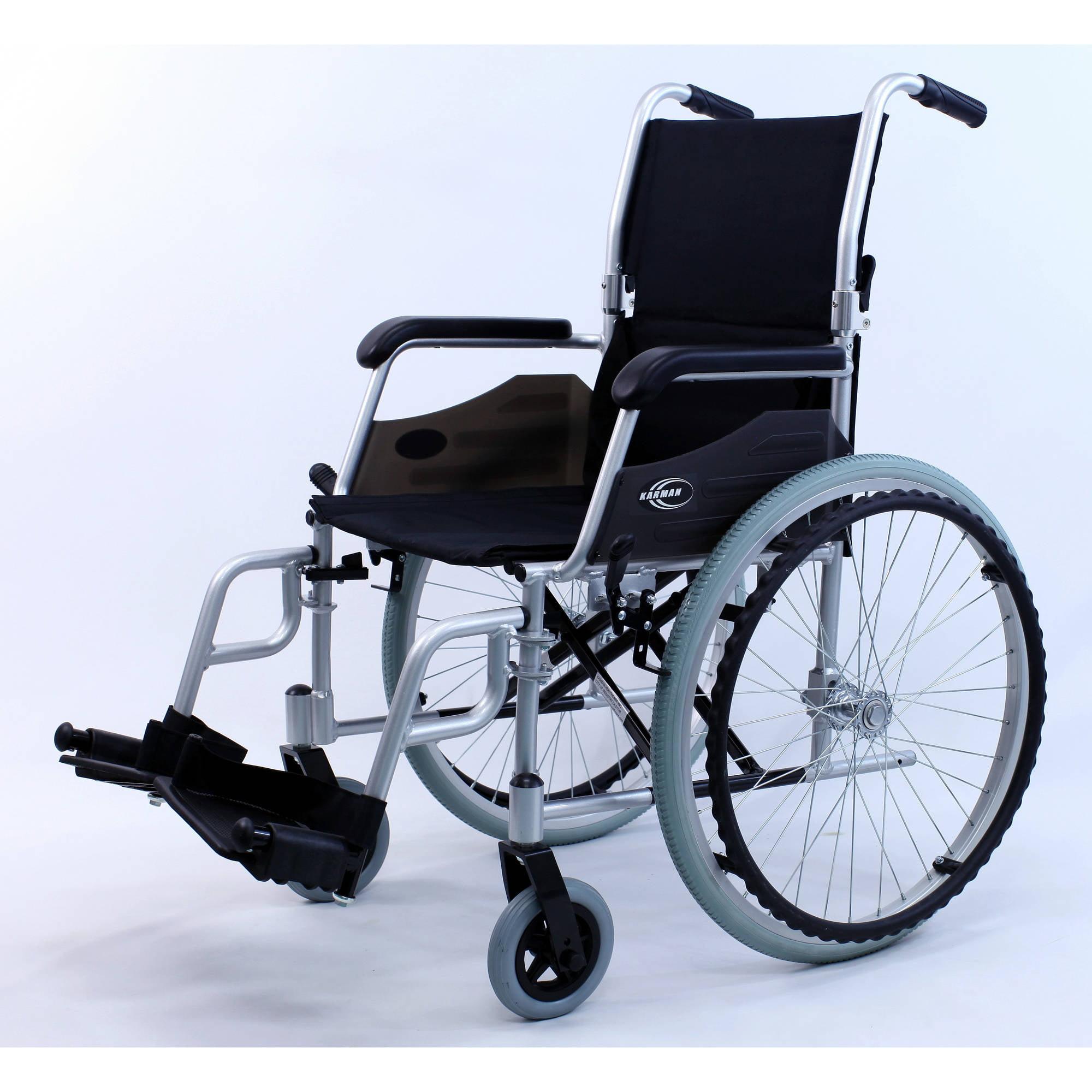 """Karman LT-980 24 pounds Lightweight Wheelchair, 18"""" seat, Silver"""