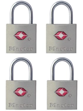 Master Lock Padlock 4683Q 7/8in (22mm) Wide Solid Metal TSA-Accepted Luggage Lock; 4 Pack
