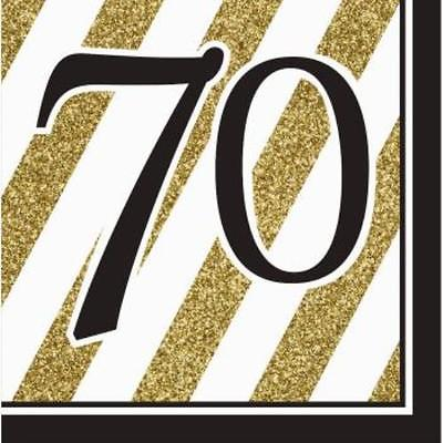 Black and Gold 70th Birthday Lunch Napkins , 4PK