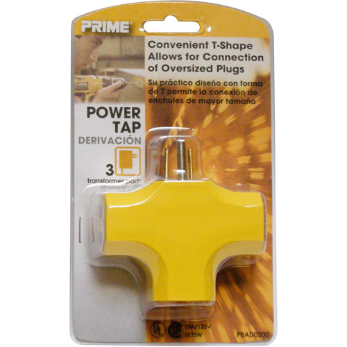 """Prime Wire 90"""" 3-Outlet Adapter, Yellow"""