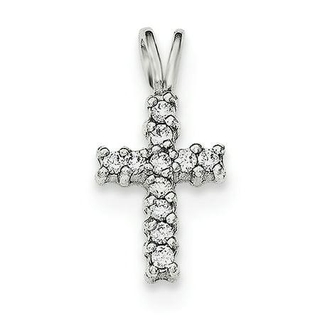 925 Sterling Silver Polished Cubic Zirconia Cross Shaped Pendant - image 2 de 2