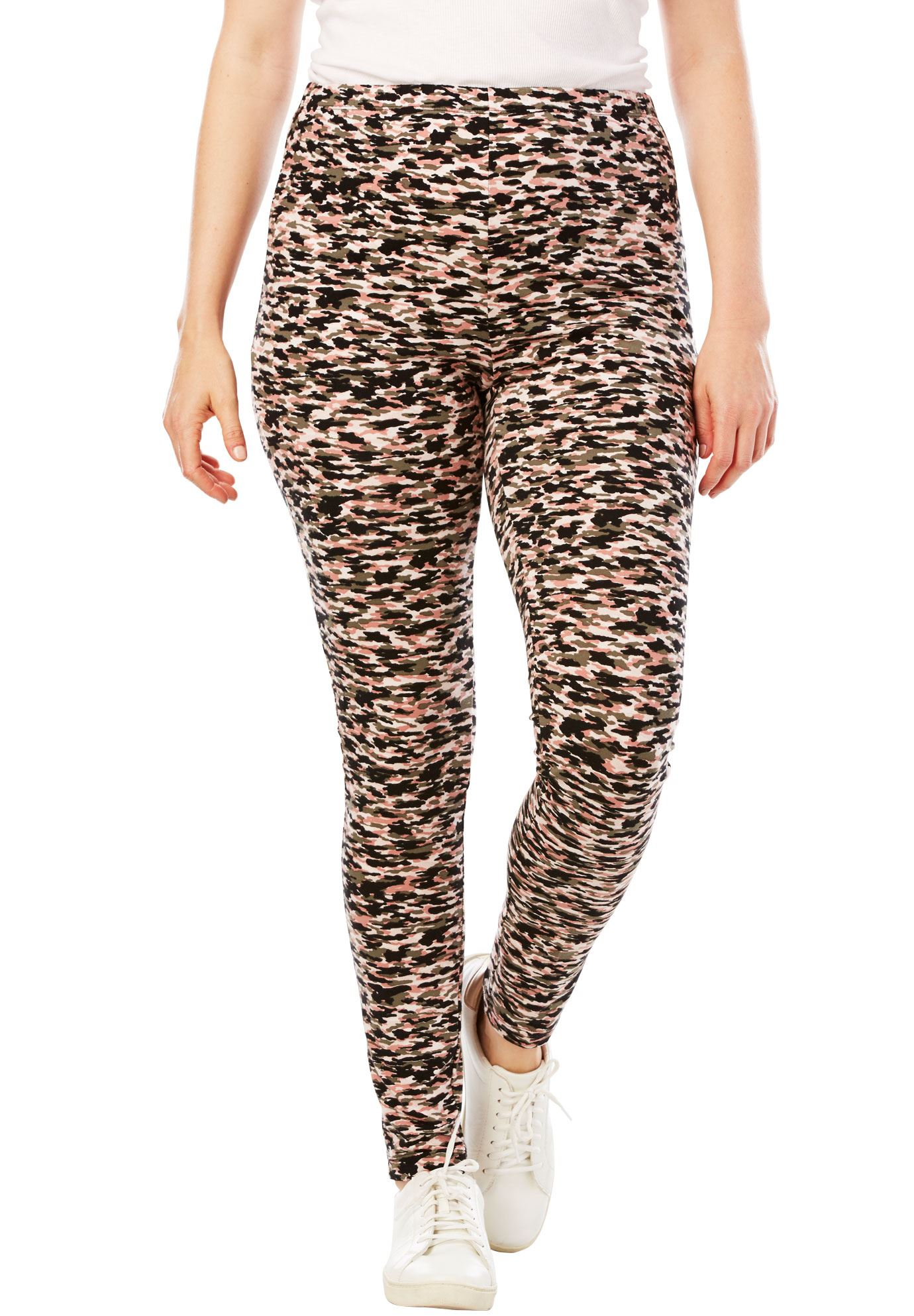 Woman Within Plus Size Stretch Cotton Printed Legging