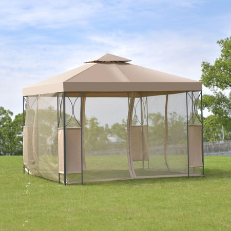 Cosplay Feet (Costway 2-Tier 10'x10' Gazebo Canopy Tent Shelter Awning Steel Patio Garden Brown)