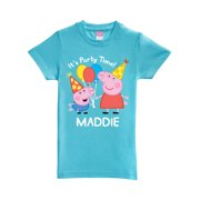 a9b78710d Personalized Peppa Pig Peppa and George Birthday Aqua Toddler Girls' Fitted  T-Shirt