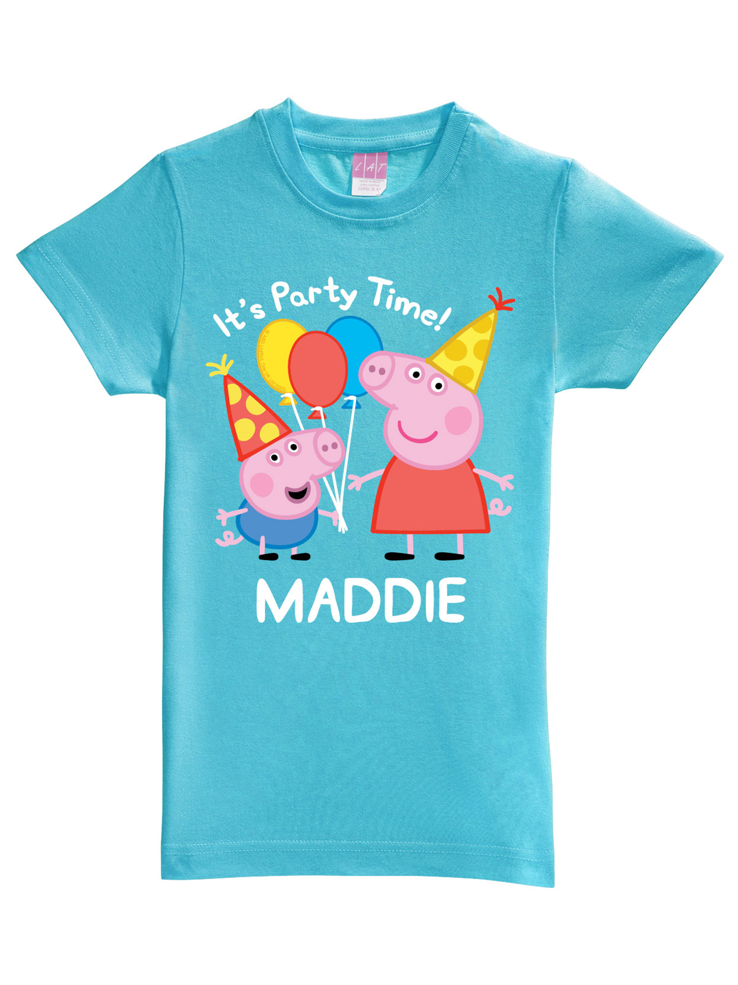 Personalized Peppa Pig Peppa and George Birthday Aqua Toddler Girls' Fitted T-Shirt