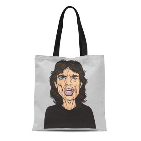 KDAGR Canvas Tote Bag Rock Mick Jagger Portrait Caricature January 14 Star Band Durable Reusable Shopping Shoulder Grocery