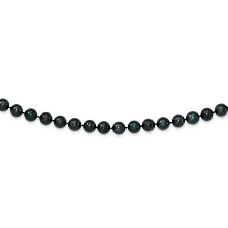 14k WG 7-8mm Round Black Saltwater Akoya Cultured Pearl Necklace -