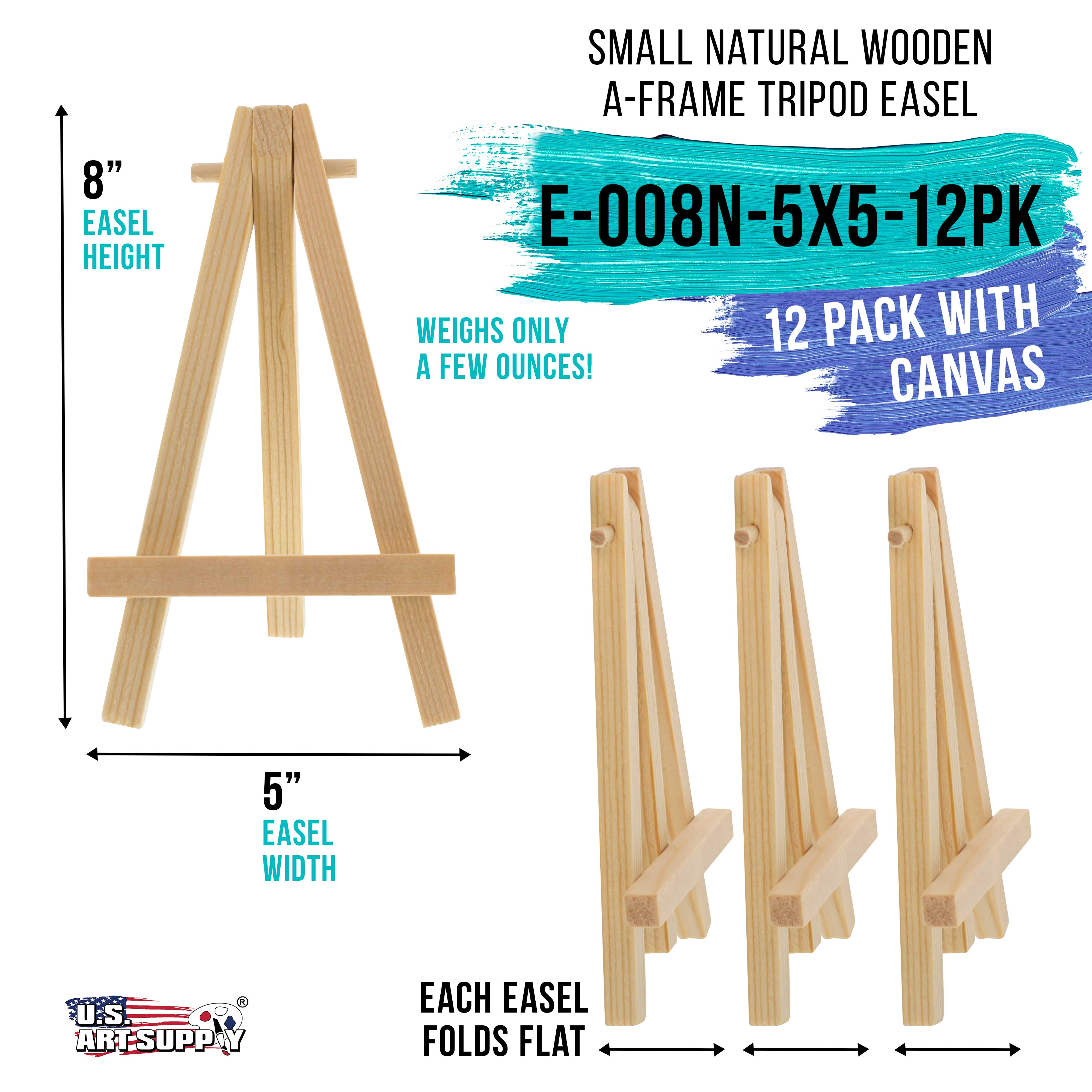 """6 Pack of Mini Wood 8/"""" Tabletop Art Craft Display Easels NATURAL Wooden Finish"""