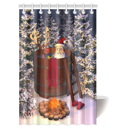 MYPOP Christmas Decor Shower Curtain, Winter Holiday Cute Santa Claus and a Reindeer in a Hot Tub Bathroom Shower Curtain Set with Hooks, 48 X 72 Inches