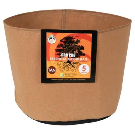 Gro Pro Essential Round Fabric Pot - Tan 5 Gallon (5 Gallon Used Whiskey Barrel For Sale)