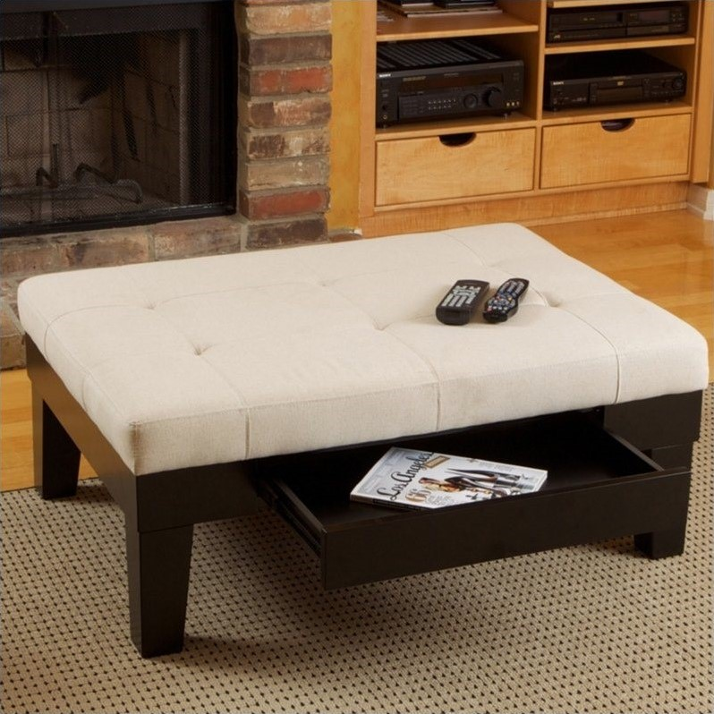 Trent Home Gotham Storage Ottoman in Ivory