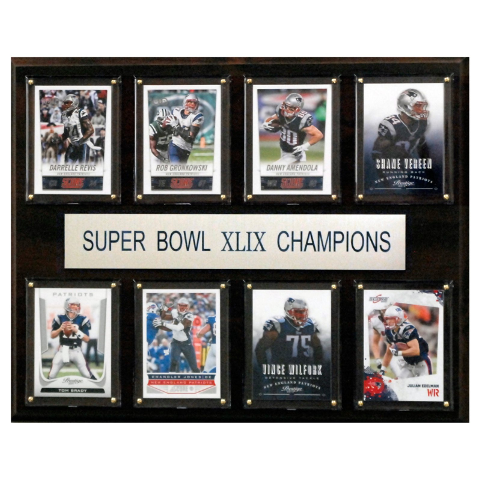 C and I Collectables NFL 15W x 12H in. New England Patriots Super Bowl XLIXI 8 Card Plaque