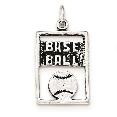 925 Sterling Silver Antiqued Baseball Rectangle Polished Flat Charm Pendant