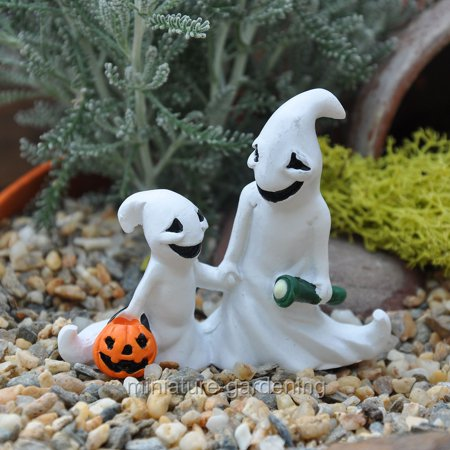 Georgetown Home & Garden Halloween Ghosts with Glow in the Dark Torch for Miniature Garden, Fairy - Halloween Torches