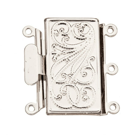 Filigree Line Square 3 Strand Box Clasp Platinum-Finished Brass 21.7x22.7mm sold per pack of 2