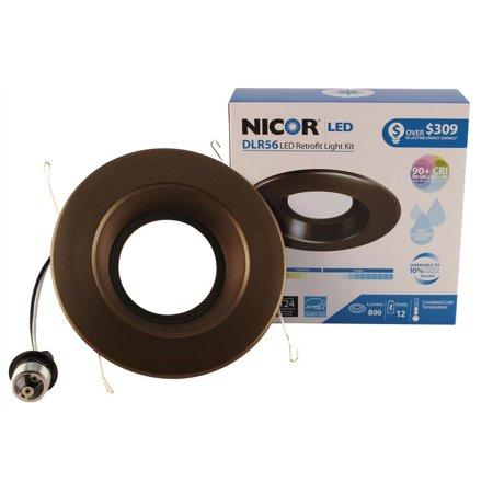 NICOR Lighting Dimmable 5000K LED Recessed Downlight Retrofit Kit for 5-6-Inch Housings, Black Trim (DLR56-3008-120-5K-BK) 8' Architectural Recessed Downlight Housings