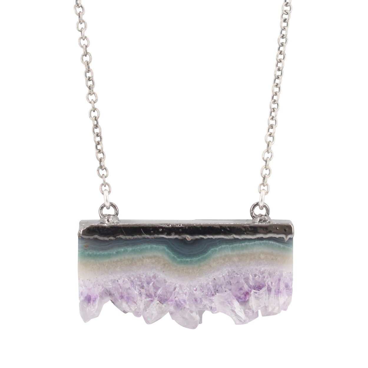 Raw Amethyst Necklace in Oxidized Sterling Silver, #6315-oxd by