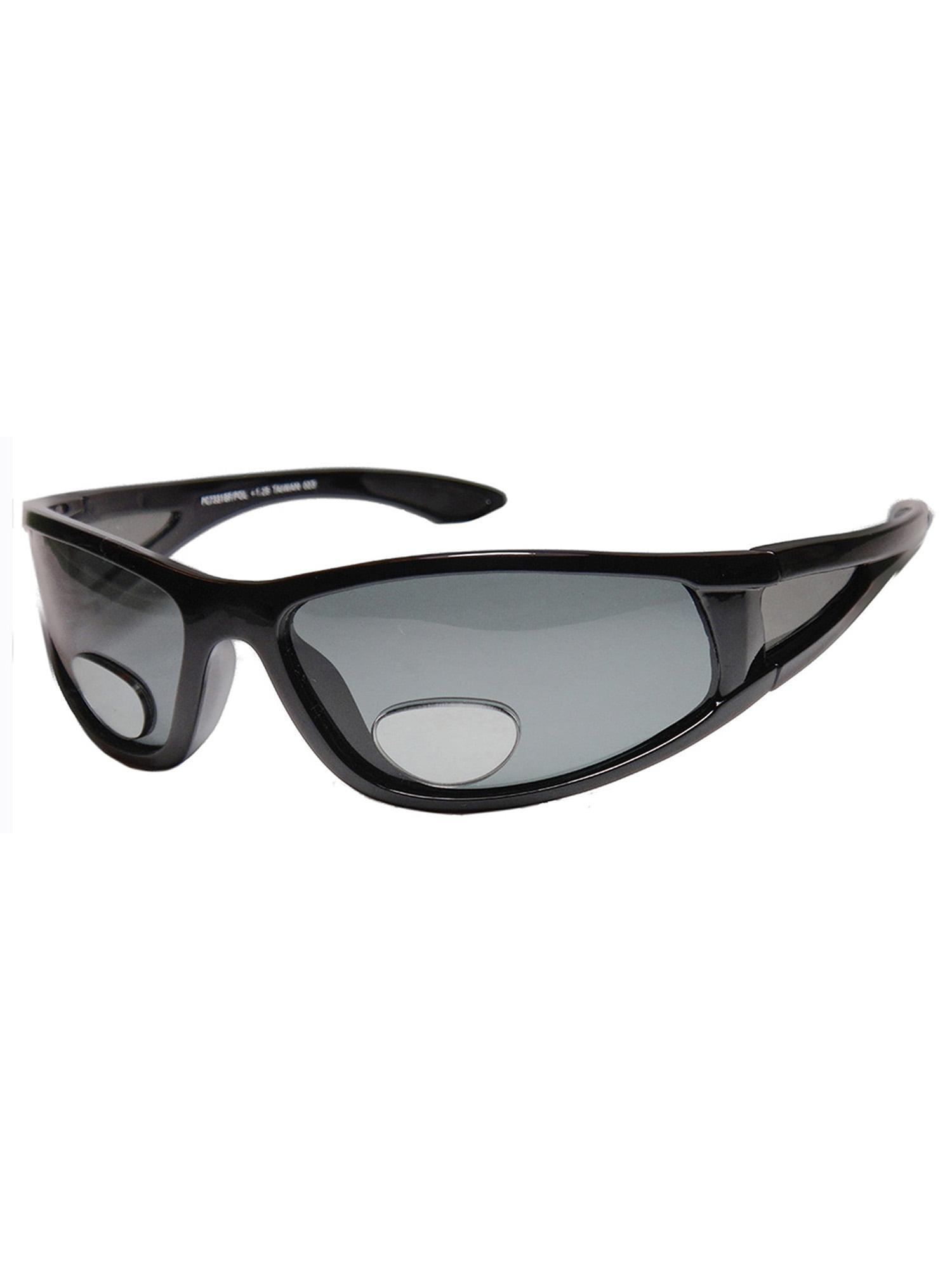 Mens Sports Wrap Around Sunglasses Polarized Bifocal Lens Fly FishingBLACK +1.50