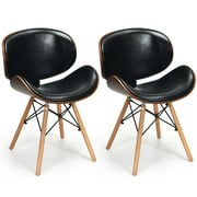 Costway Set of 2 Bentwood Dining Chair Mid-Century Accent Chair Curved Back PU Leather