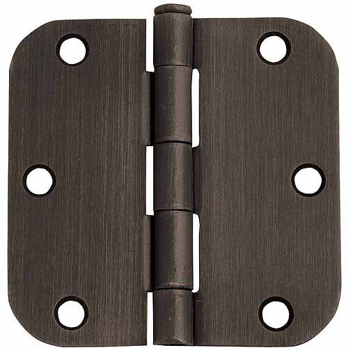 "Design House 202499 6-Hole 5/8"" Radius Door Hinge, 3.5"" x 3.5"", Oil Rubbed Bronze Finish"