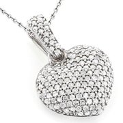 Luxurman  14k Gold 1/2ct TDW Diamond Small Pave Heart Pendant (G-H, SI1-SI2)