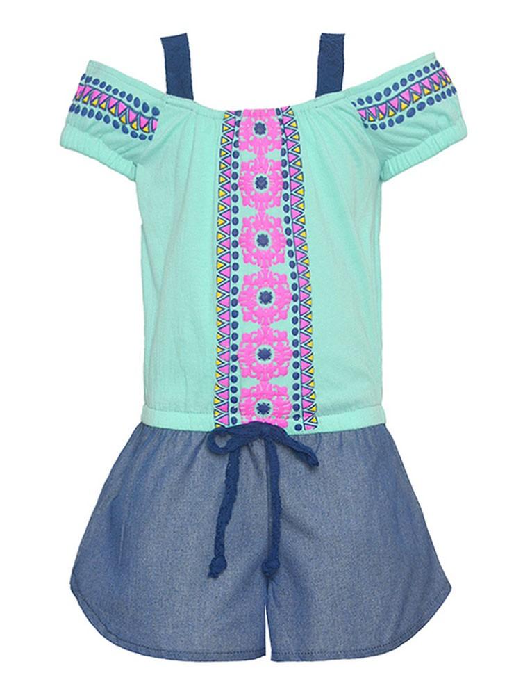 Little Girls Aqua Off Shoulder Ethnic Motif Print Waist Tie Romper