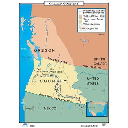Universal Map Us History Wall Maps Oregon Country Walmartcom - Us-map-1819