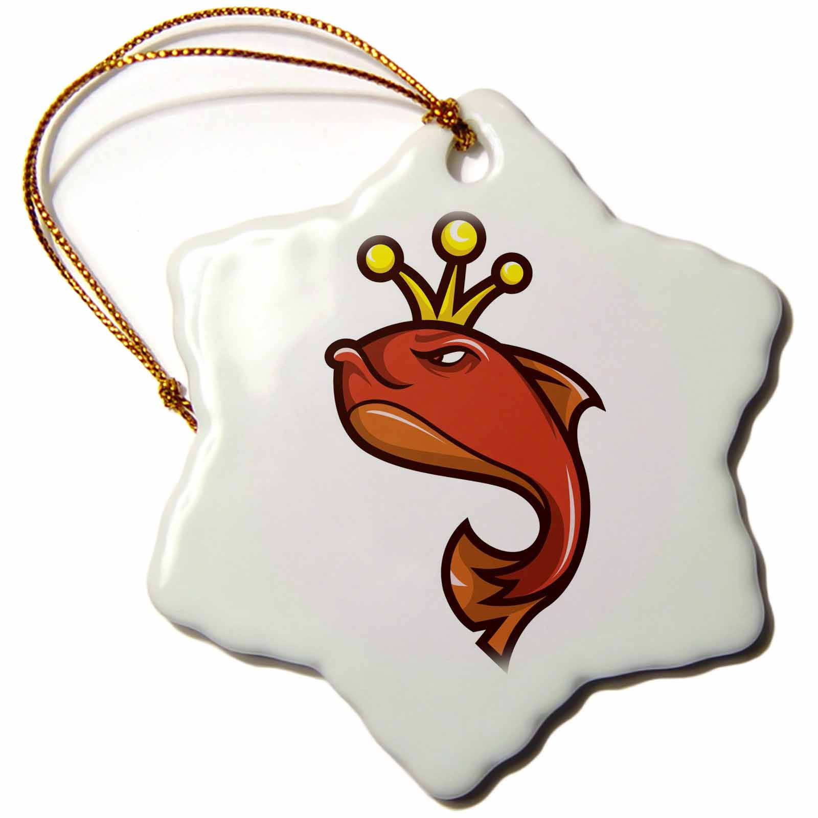 3dRose King Fish, Snowflake Ornament, Porcelain, 3-inch