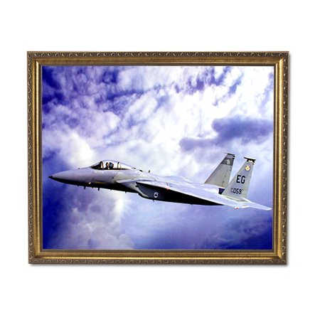 F15 Eagle Jet Fighter Airplane Wall Picture Gold Framed Art Print