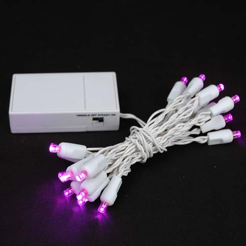 Novelty Lights 20 Light Battery Operated LED Christmas Mini Light Set, White Wire, 8' Long