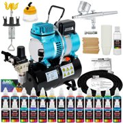 Master Airbrush Dual Fan Air Tank Compressor System Deluxe Kit, Gravity Feed, 24 Color Acrylic Paint Artist Set, Holder