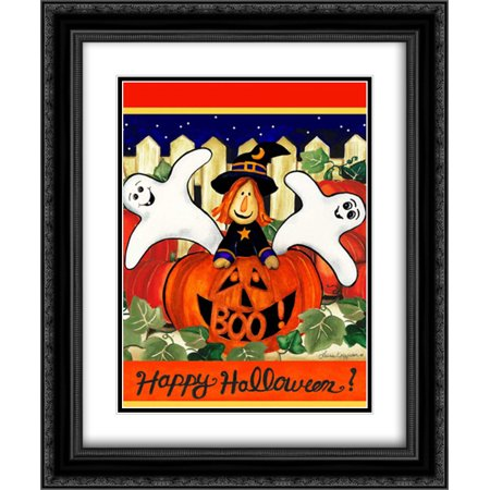 Happy Halloween 2x Matted 20x24 Black Ornate Framed Art Print by Korsgaden, Laurie