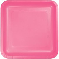 Hoffmaster Group 453042 7 in. Square Lunch Plate, Candy Pink - 18 per Case - Case of 10