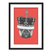 wall26 - Framed Wall Art - Pug Dog a Crown - Black Picture Frames White Matting - 23x31 inches