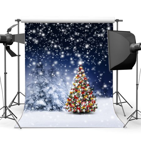 hellodecor polyster 5x7ft photography backdrop christmas tree rustic forest falling snowflakes heavy snow bokeh halos winter