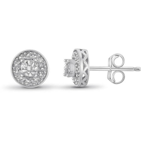 Jewelersclub White Diamond Accent Sterling Silver Halo Stud Earrings