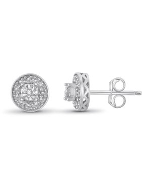 White Diamond Accent Sterling Silver Halo Stud Earrings