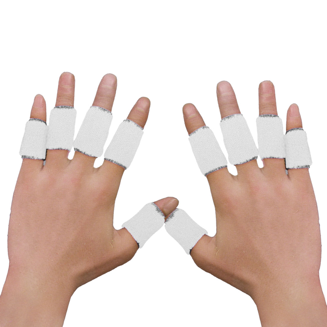 Unique Bargains 10Pcs White Sports Gear Comfort Basketball Finger Sleeves Protector for Arthritis